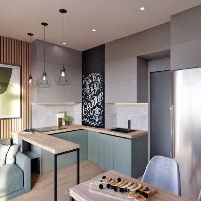 Дизайн 3-х комнатной квартиры Киев интерьер кухни студии