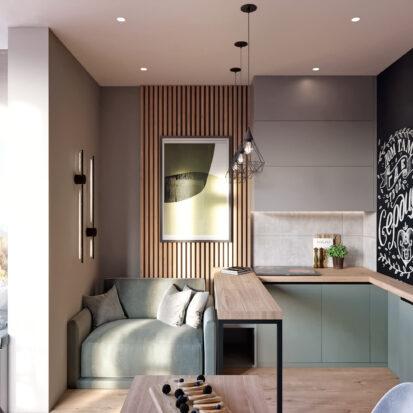 Дизайн 3-х комнатной квартиры Киев кухня студия