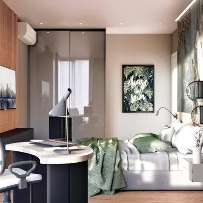 Дизайн 3-х комнатной квартиры Киев проект спальни