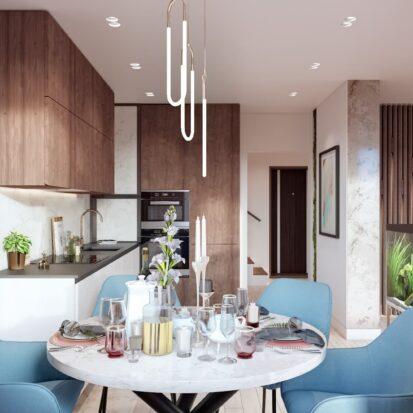 Элитный дизайн двухэтажной квартиры кухня