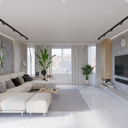 Дизайн дома Запорожье гостиная совмещенная со столовой