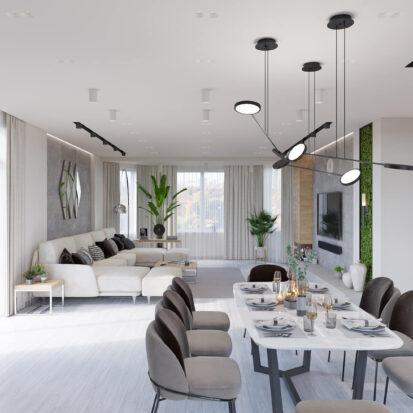 Дизайн дома Запорожье гостиная столовая