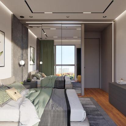 Дизайн квартиры Днепр дизайнерский ремонт спальни