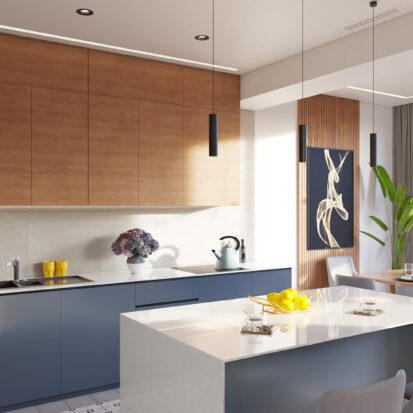Дизайн квартиры Днепр кухня студия