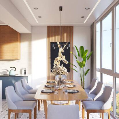 Дизайн квартиры Днепр столовая на балконе
