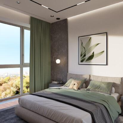 Элитный дизайн квартиры Днепр спальня