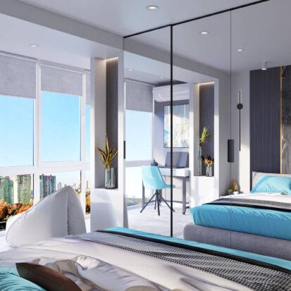 Дизайн 2х комнатной квартиры Энергодар интерьер спальни