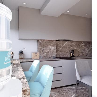 Дизайн 2х комнатной квартиры Энергодар кухня с барной стойкой