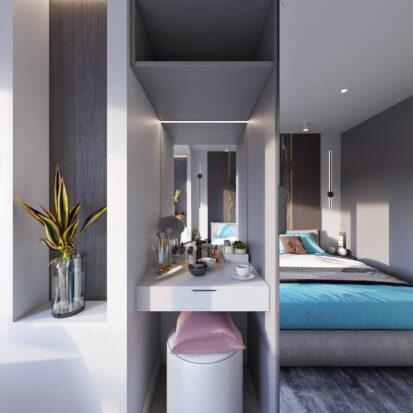 Дизайн 2х комнатной квартиры Энергодар туалетный стол в шкафу