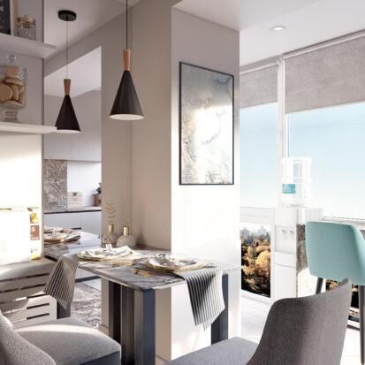 Элитный дизайн 2х комнатной квартиры Энергодар кухня