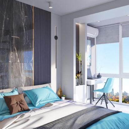 Элитный дизайн 2х комнатной квартиры Энергодар спальня