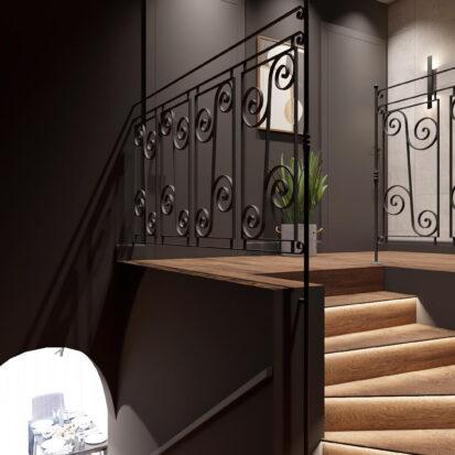 Дизайн дома Балабино лестница на 2й этаж