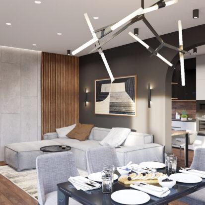 Дизайн дома Балабино проект гостиной