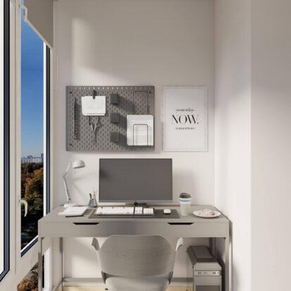 Дизайн квартиры для сдачи в аренду кабинет на балконе