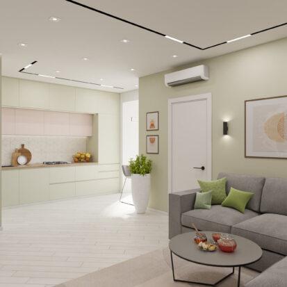 Дизайн квартиры под сдачу гостиная