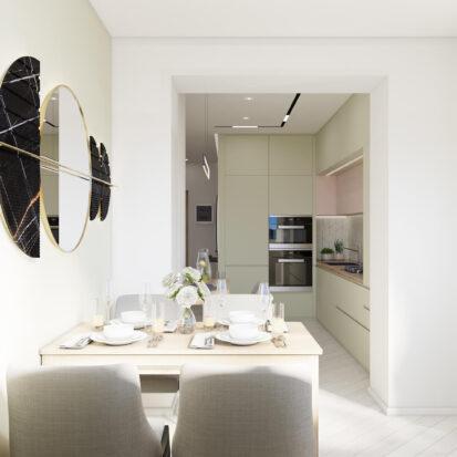 Дизайн квартиры под сдачу столовая на балконе