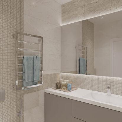 Элитный дизайн квартиры под сдачу ванная