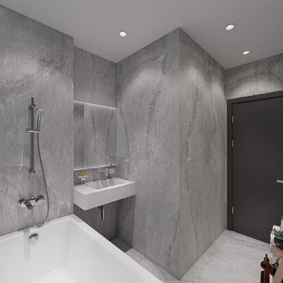 Дизайнерский ремонт двухкомнатной квартиры в новостройке ванной