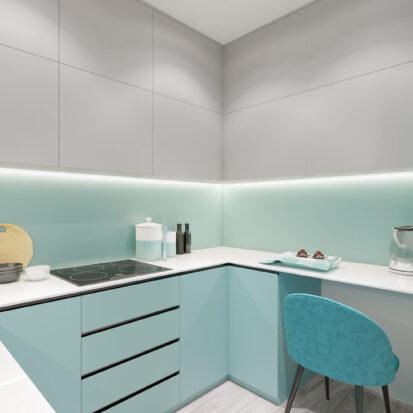 Дизайнерский ремонт двухкомнатной квартиры в новостройке кухня