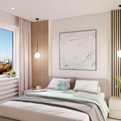 Дизайнерский ремонт квартиры в comfort city спальня