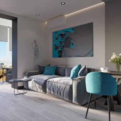 Дизайн двухкомнатной квартиры в новостройке гостиная