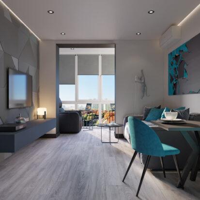 Дизайн двухкомнатной квартиры в новостройке проект гостиной