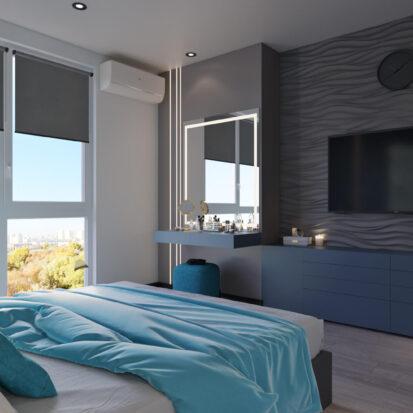 Дизайн двухкомнатной квартиры в новостройке спальня