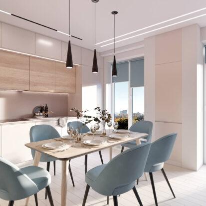 Дизайн квартиры в comfort city гостиная с кухней