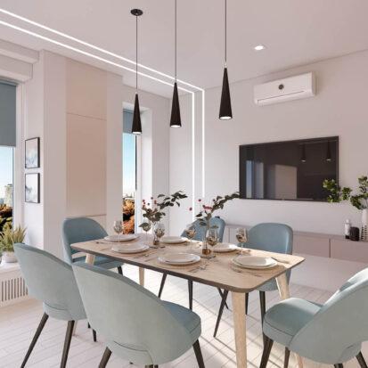 Дизайн квартиры в comfort city кухня-студия