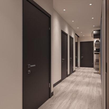 Элитный дизайн двухкомнатной квартиры в новостройке прихожая коридор